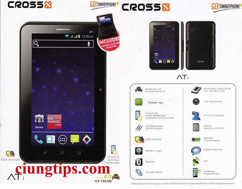Spesifikiasi TAblet Android cross AT1