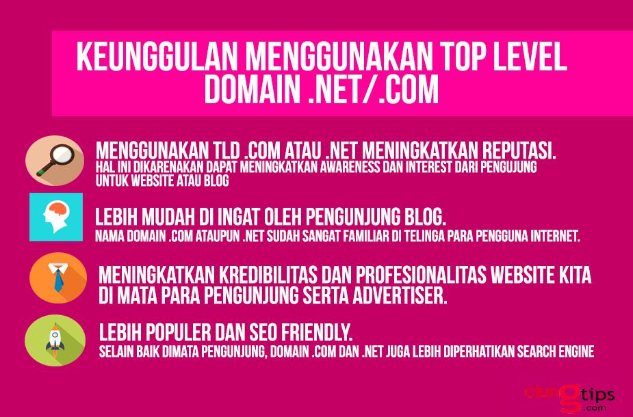 keunggulan menggunakan domain .com dan .net