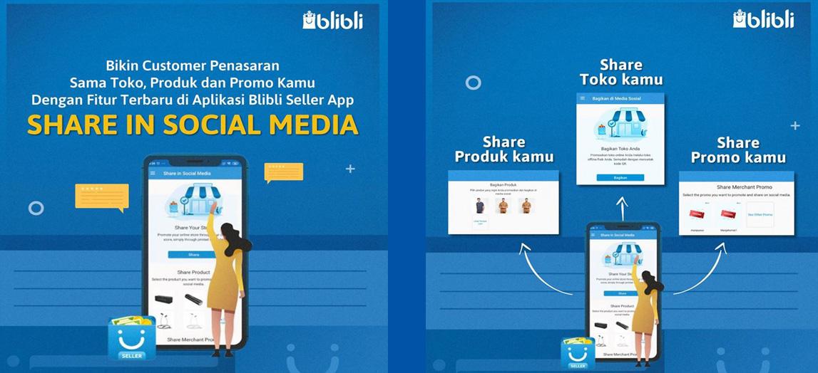 blibli seller app share sosial media