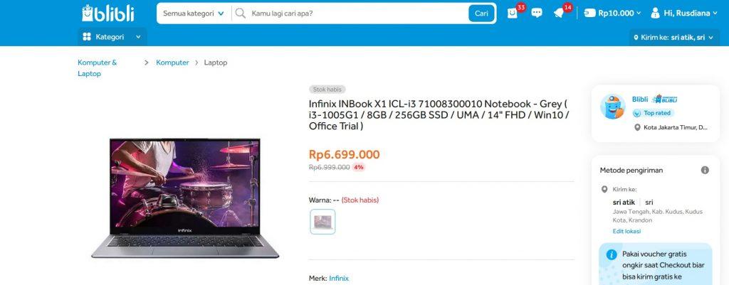 harga infinix Inbook x1